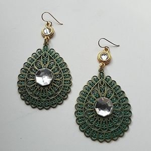 GYPSY MEDALLION PATINA DROP MOONDUST EARRINGS NEW